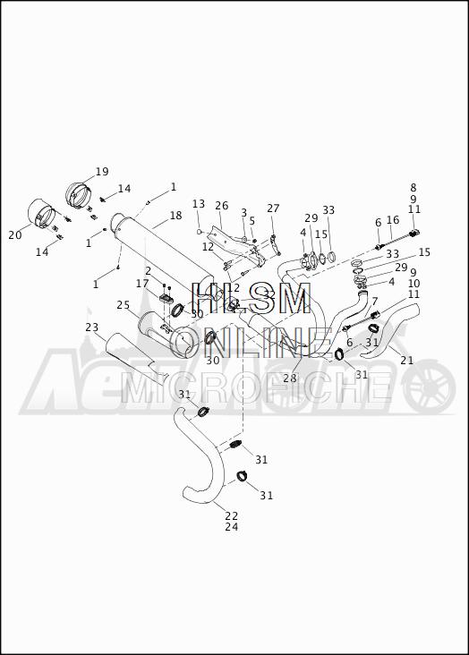 Запчасти для Мотоцикла Harley-Davidson 2019 XG500 STREET 500 (NA) Раздел: EXHAUST SYSTEM | выпускная система