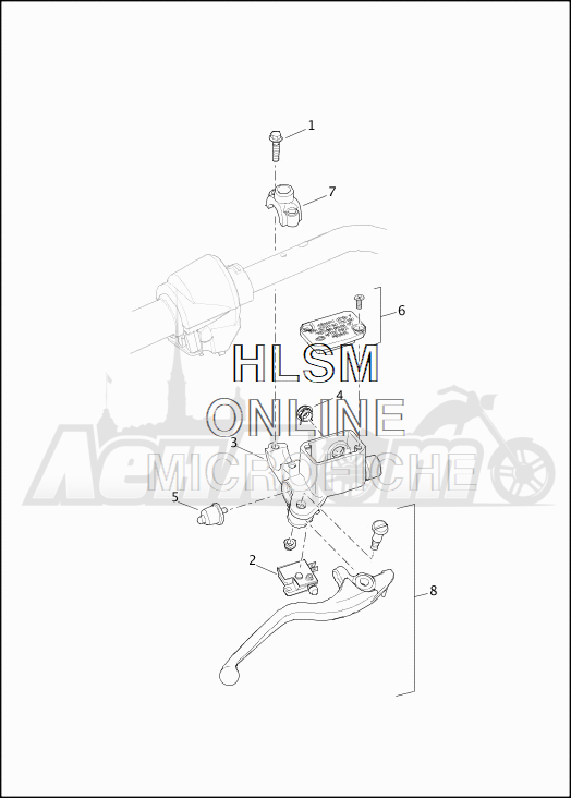 Запчасти для Мотоцикла Harley-Davidson 2019 XG500 STREET 500 (NA) Раздел: BRAKE - FRONT BRAKE CYLINDER ASSEMBLY W/LEVER | передний тормоз тормоза цилиндр в сборе вместе с рычаг