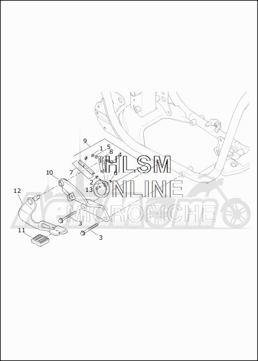 Запчасти для Мотоцикла Harley-Davidson 2019 XG500 STREET 500 (NA) Раздел: BRAKE - REAR LEVER ASSEMBLY | задний тормоз рычаг в сборе