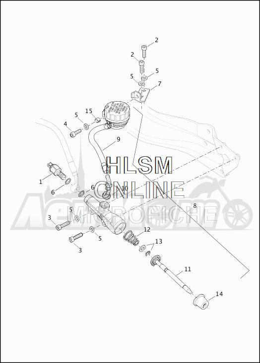 Запчасти для Мотоцикла Harley-Davidson 2019 XG500 STREET 500 (NA) Раздел: BRAKE - REAR MASTER CYLINDER | задний тормоз главный цилиндр