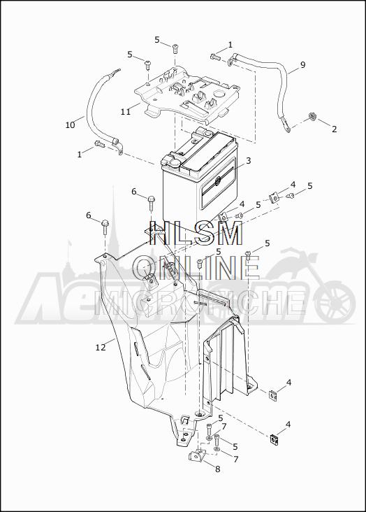Запчасти для Мотоцикла Harley-Davidson 2019 XG500 STREET 500 (NA) Раздел: ELECTRICAL - BATTERY W/BATTERY TRAY ASSEMBLY | электрика аккумулятор вместе с аккумулятор лоток в сборе