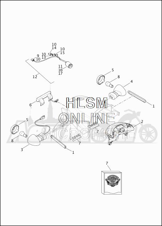 Запчасти для Мотоцикла Harley-Davidson 2019 XG500 STREET 500 (NA) Раздел: TURN SIGNALS - REAR W/TAIL LIGHT | сигналы поворота зад вместе с задний фонарь