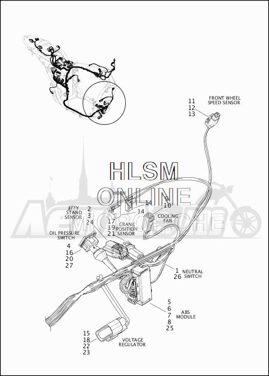Запчасти для Мотоцикла Harley-Davidson 2019 XG750 STREET 750 (NB) Раздел: WIRING HARNESS_MAIN - ABS (FRONT LOWER)   электропроводка главный жгут ABS (перед нижний)
