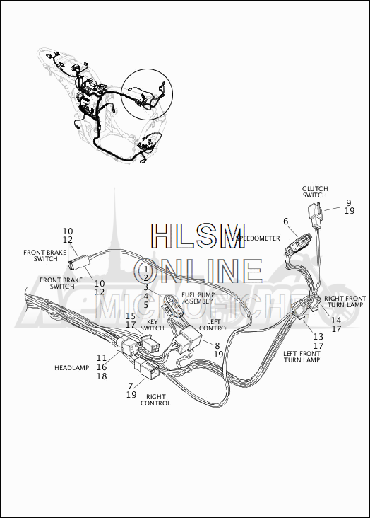 Запчасти для Мотоцикла Harley-Davidson 2019 XG750 STREET 750 (NB) Раздел: WIRING HARNESS_MAIN - NON-ABS (FRONT UPPER) | электропроводка главный жгут не ABS (перед верхний)