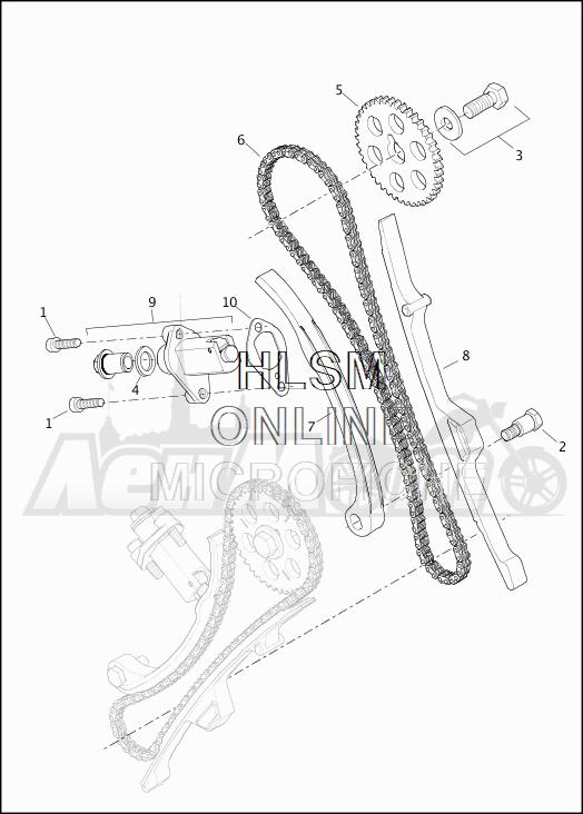 Запчасти для Мотоцикла Harley-Davidson 2019 XG750 STREET 750 (NB) Раздел: CAMSHAFT - CHAIN SYSTEM | распредвал цепь система
