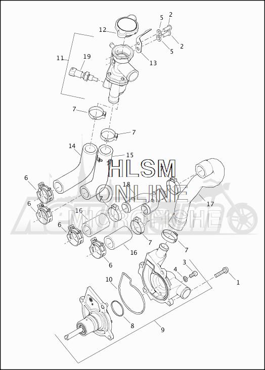 Запчасти для Мотоцикла Harley-Davidson 2019 XG750 STREET 750 (NB) Раздел: COOLANT PUMP W/THERMOSTAT | охлаждающая жидкость насос вместе с термостат