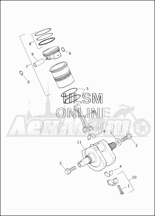 Запчасти для Мотоцикла Harley-Davidson 2019 XG750 STREET 750 (NB) Раздел: CRANKSHAFT ASSEMBLY W/PISTONS AND FLYWHEEL   коленвал в сборе вместе с поршни и маховик