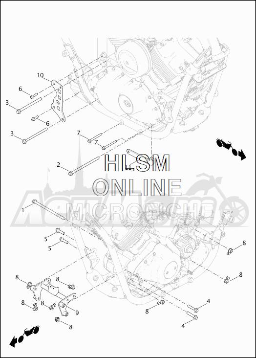 Запчасти для Мотоцикла Harley-Davidson 2019 XG750 STREET 750 (NB) Раздел: ENGINE MOUNTS | опоры двигателя