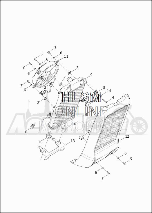 Запчасти для Мотоцикла Harley-Davidson 2019 XG750 STREET 750 (NB) Раздел: RADIATOR W/FAN | радиатор вместе с вентилятор