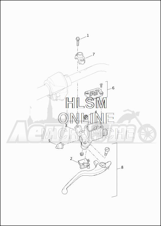 Запчасти для Мотоцикла Harley-Davidson 2019 XG750 STREET 750 (NB) Раздел: BRAKE - FRONT BRAKE CYLINDER ASSEMBLY W/LEVER   передний тормоз тормоза цилиндр в сборе вместе с рычаг