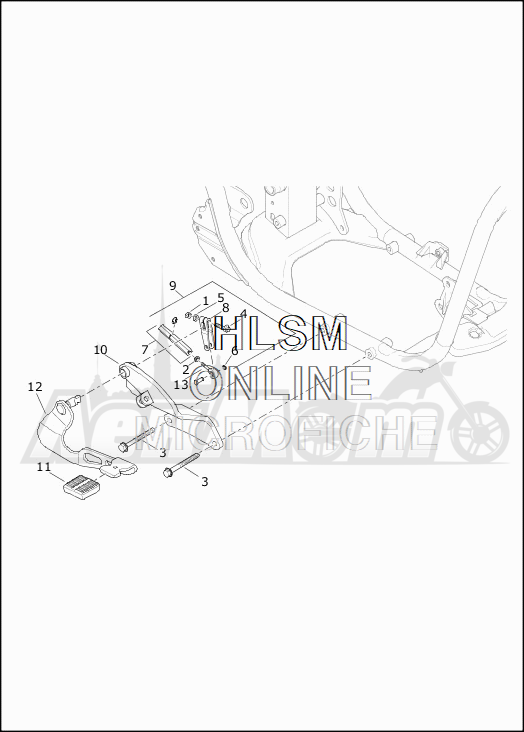 Запчасти для Мотоцикла Harley-Davidson 2019 XG750 STREET 750 (NB) Раздел: BRAKE - REAR LEVER ASSEMBLY | задний тормоз рычаг в сборе
