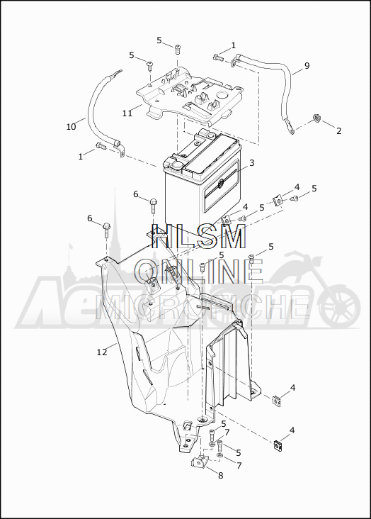 Запчасти для Мотоцикла Harley-Davidson 2019 XG750 STREET 750 (NB) Раздел: ELECTRICAL - BATTERY W/BATTERY TRAY ASSEMBLY | электрика аккумулятор вместе с аккумулятор лоток в сборе