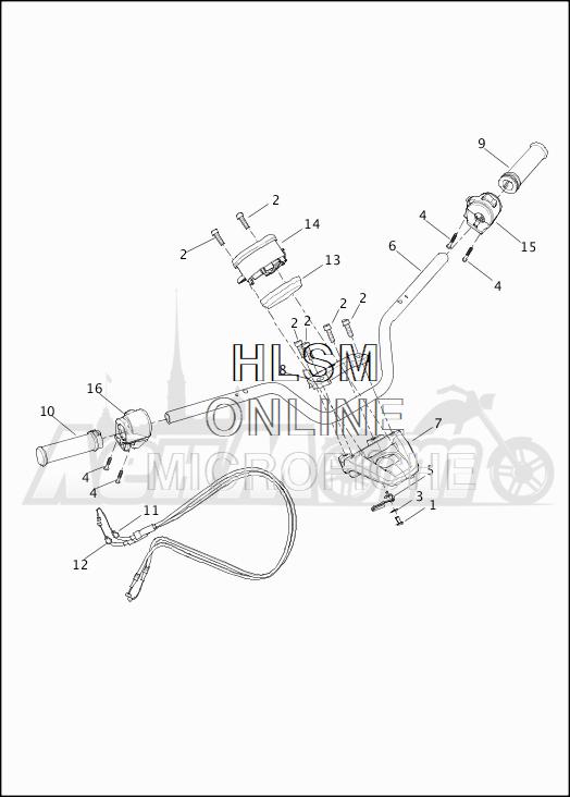 Запчасти для Мотоцикла Harley-Davidson 2019 XG750 STREET 750 (NB) Раздел: HANDLEBAR W/HAND CONTROLS AND SPEEDOMETER | руль вместе с HAND органы управления и спидометр