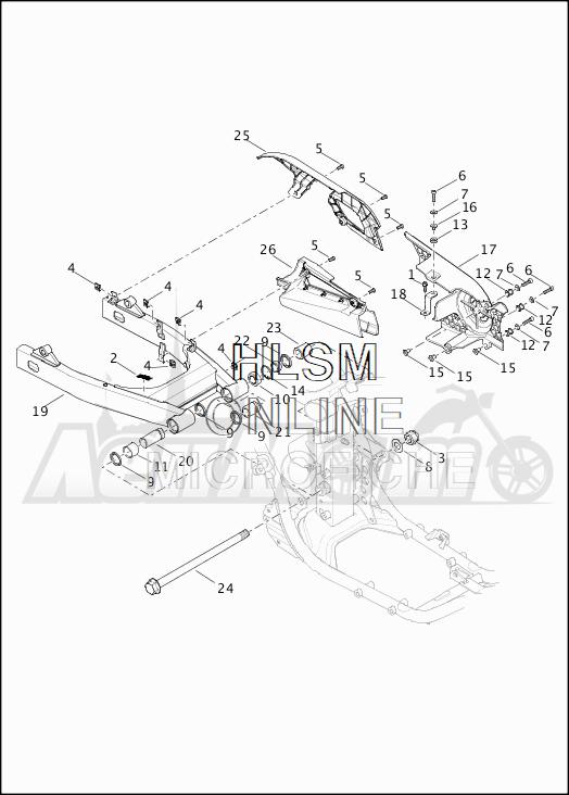 Запчасти для Мотоцикла Harley-Davidson 2019 XG750 STREET 750 (NB) Раздел: SUSPENSION - REAR FORK W/BELT GUARD AND DEFLECTOR | задняя подвеска вилка вместе с защита ремня и дефлектор