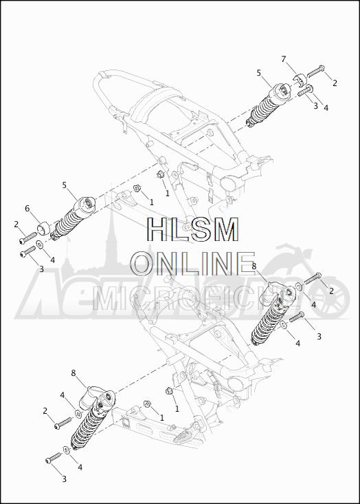Запчасти для Мотоцикла Harley-Davidson 2019 XG750 STREET 750 (NB) Раздел: SUSPENSION - REAR SHOCK ABSORBERS | задняя подвеска амортизаторы