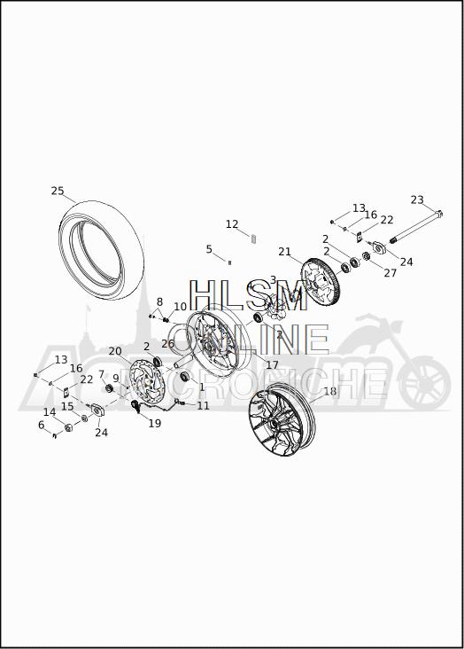 Запчасти для Мотоцикла Harley-Davidson 2019 XG750 STREET 750 (NB) Раздел: WHEEL - REAR   заднее колесо