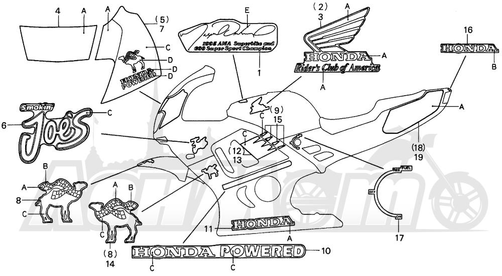 Запчасти для Мотоцикла Honda 1996 CBR600SJR Раздел: F3- SE STRIPE | F3 SE STRIPE