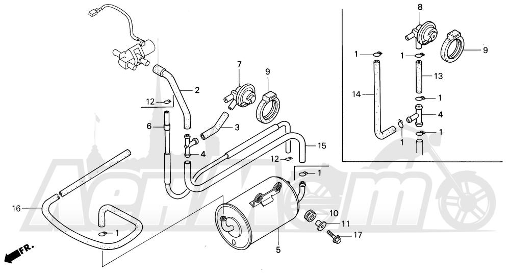 Запчасти для Мотоцикла Honda 1996 CBR600SJR Раздел: CANISTER (AC) | канистра (AC)