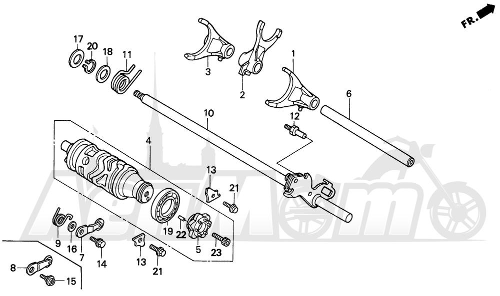 Запчасти для Мотоцикла Honda 1996 CBR600SJR Раздел: GEARSHIFT DRUM | переключение передач барабан