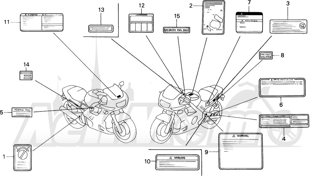 Запчасти для Мотоцикла Honda 1996 CBR600SJR Раздел: CAUTION LABEL   предупреждение этикетка, метка