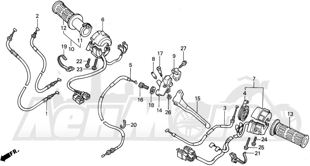 Запчасти для Мотоцикла Honda 1996 CBR600SJR Раздел: HANDLE SWITCH AND CABLES | ручной переключатель и тросики, кабели