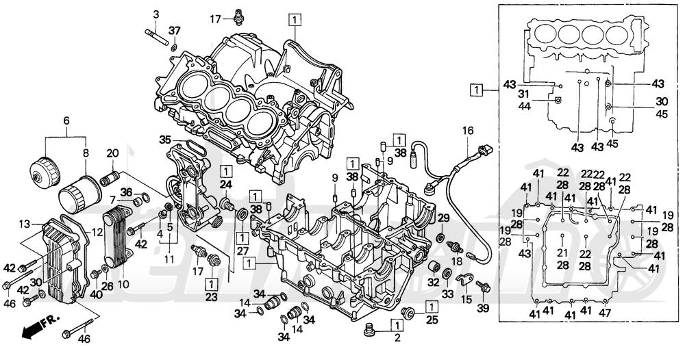 Запчасти для Мотоцикла Honda 1996 CBR600SJR Раздел: CRANKCASE SET | картер набор