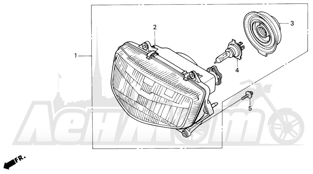 Запчасти для Мотоцикла Honda 1996 CBR600SJR Раздел: HEADLIGHT | передняя фара