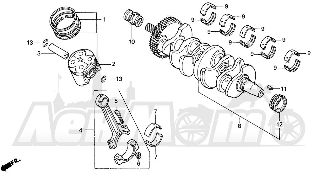 Запчасти для Мотоцикла Honda 1996 CBR600SJR Раздел: CRANKSHAFT | коленвал