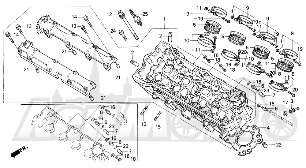 Запчасти для Мотоцикла Honda 1996 CBR600SJR Раздел: CYLINDER HEAD | головка цилиндра