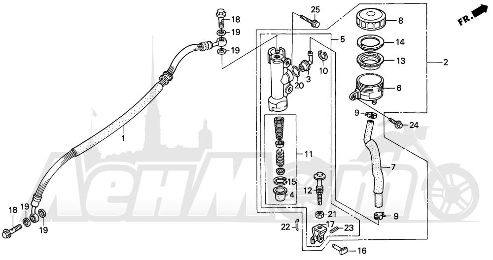 Запчасти для Мотоцикла Honda 1996 CBR600SJR Раздел: REAR BRAKE MASTER CYL. | задний тормоз MASTER CYL.
