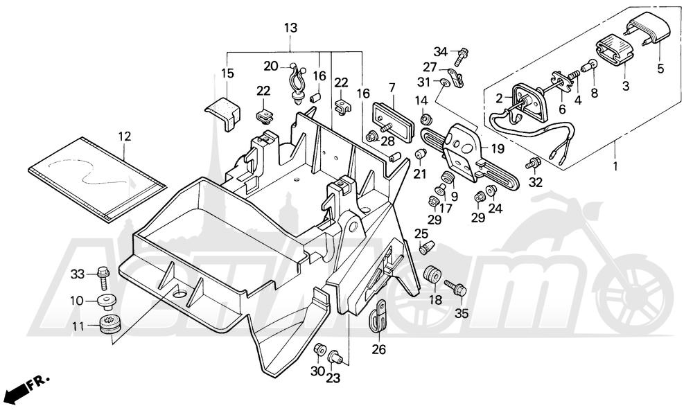 Запчасти для Мотоцикла Honda 1996 CBR600SJR Раздел: REAR FENDER   заднее крыло