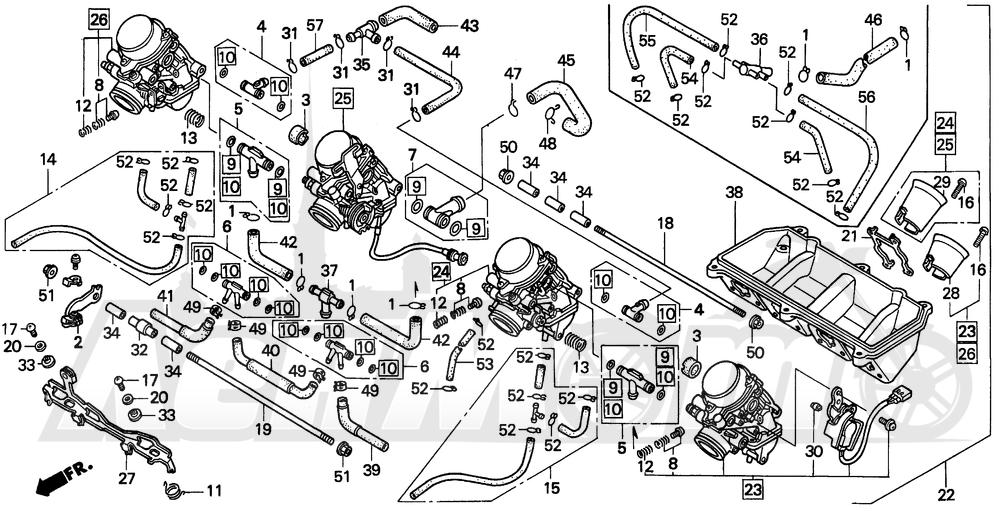 Запчасти для Мотоцикла Honda 1996 CBR600SJR Раздел: F3 CARBURETOR ASSY. 95-96 | F3 карбюратор в сборе. 95 96