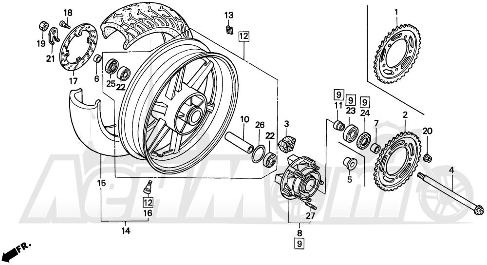 Запчасти для Мотоцикла Honda 1996 CBR600SJR Раздел: REAR WHEEL | заднее колесо