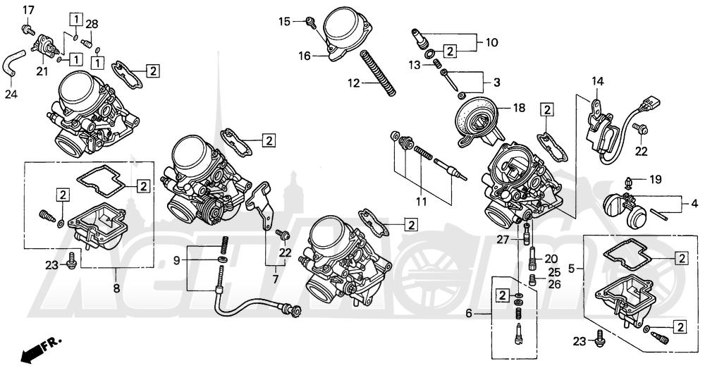 Запчасти для Мотоцикла Honda 1996 CBR600SJR Раздел: F3 CARBURETOR COMPONENTS 95-96 | F3 карбюратор компоненты 95 96