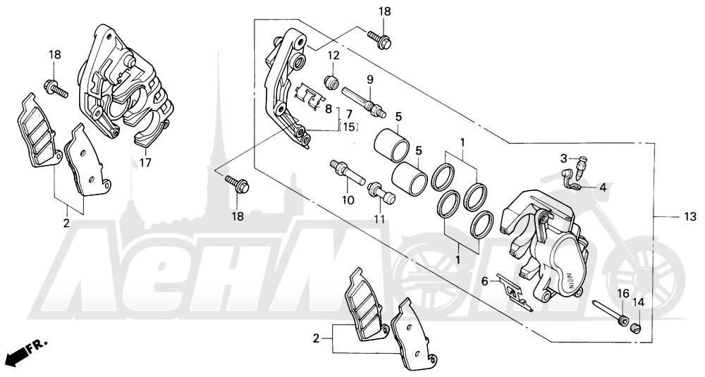 Запчасти для Мотоцикла Honda 1996 CBR600SJR Раздел: F3 FRONT BRAKE CALIPER 95-96 | F3 передний тормоз суппорт 95 96