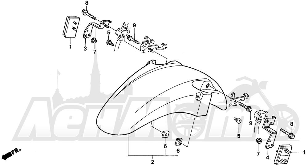 Запчасти для Мотоцикла Honda 1996 CBR600SJR Раздел: F3 FRONT FENDER 95-96 | F3 переднее крыло 95 96