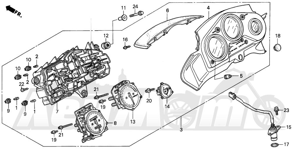 Запчасти для Мотоцикла Honda 1996 CBR600SJR Раздел: F3 METERS 95-96 | F3 приборы 95 96