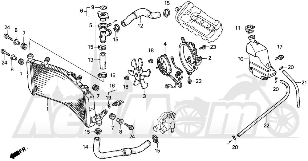 Запчасти для Мотоцикла Honda 1996 CBR600SJR Раздел: F3 RADIATOR 95-96 | F3 радиатор 95 96