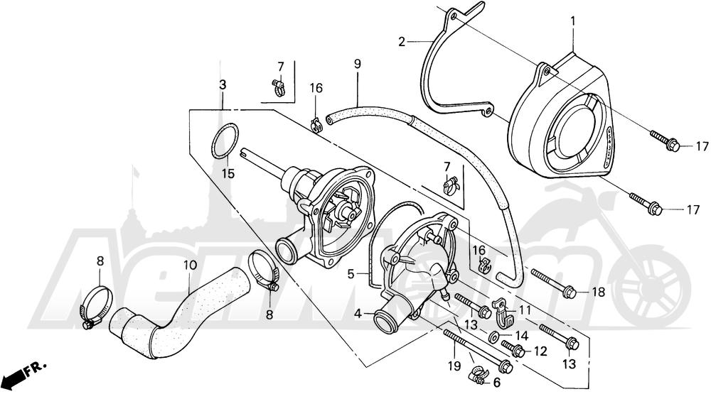 Запчасти для Мотоцикла Honda 1996 CBR600SJR Раздел: WATER PUMP | водяная помпа