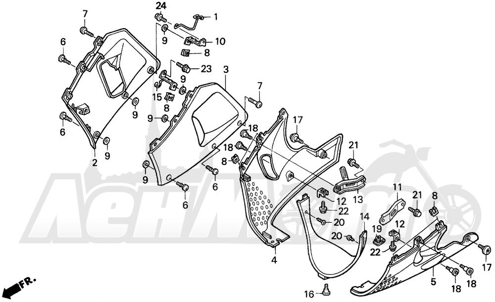 Запчасти для Мотоцикла Honda 1996 CBR900RR Раздел: LOWER COWL | нижний обтекатель
