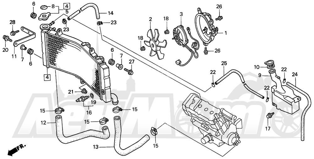 Запчасти для Мотоцикла Honda 1996 CBR900RR Раздел: RADIATOR 96-97 | радиатор 96 97