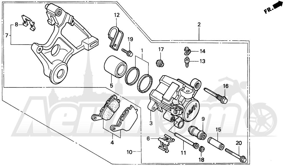 Запчасти для Мотоцикла Honda 1996 CBR900RR Раздел: REAR BRAKE CALIPER   задний тормоз суппорт