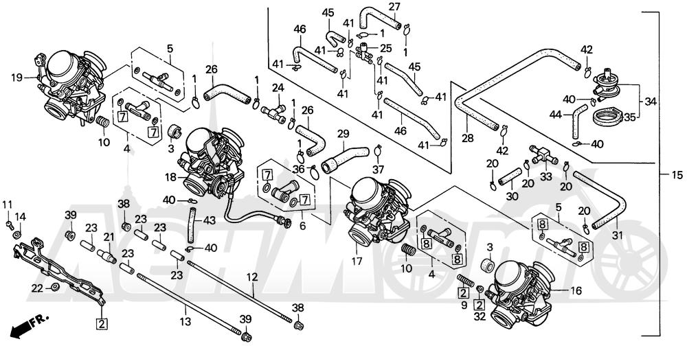 Запчасти для Мотоцикла Honda 1996 CBR900RR Раздел: CARBURETOR ASSY. | карбюратор в сборе.
