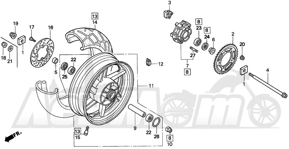 Запчасти для Мотоцикла Honda 1996 CBR900RR Раздел: REAR WHEEL   заднее колесо