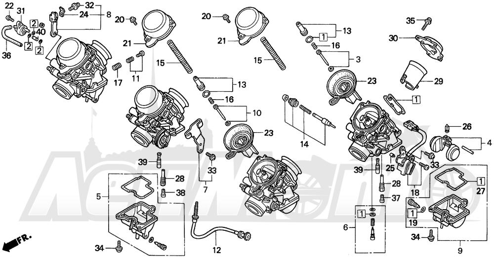 Запчасти для Мотоцикла Honda 1996 CBR900RR Раздел: CARBURETOR COMPONENTS   карбюратор компоненты