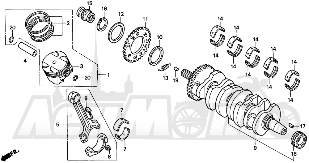 Запчасти для Мотоцикла Honda 1996 CBR900RR Раздел: CRANKSHAFT 96-97 | коленвал 96 97