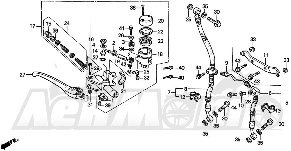 Запчасти для Мотоцикла Honda 1996 CBR900RR Раздел: FR. BRAKE MASTER CYL.   перед. тормоза MASTER CYL.