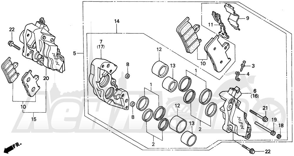Запчасти для Мотоцикла Honda 1996 CBR900RR Раздел: FRONT BRAKE CALIPER | передний тормоз суппорт