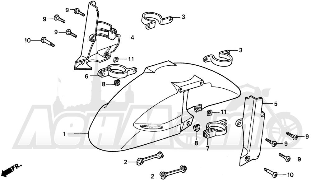 Запчасти для Мотоцикла Honda 1996 CBR900RR Раздел: FRONT FENDER 96-97   переднее крыло 96 97