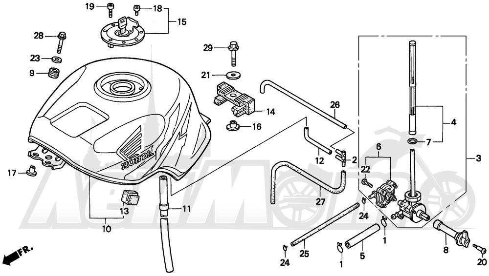 Запчасти для Мотоцикла Honda 1996 CBR900RR Раздел: FUEL TANK 96-97 | топливный бак 96 97